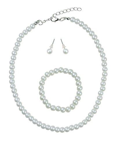 03a323abadd6 Collar De Perlas Simuladas Para Niñas Con Brazalete Elástico ...