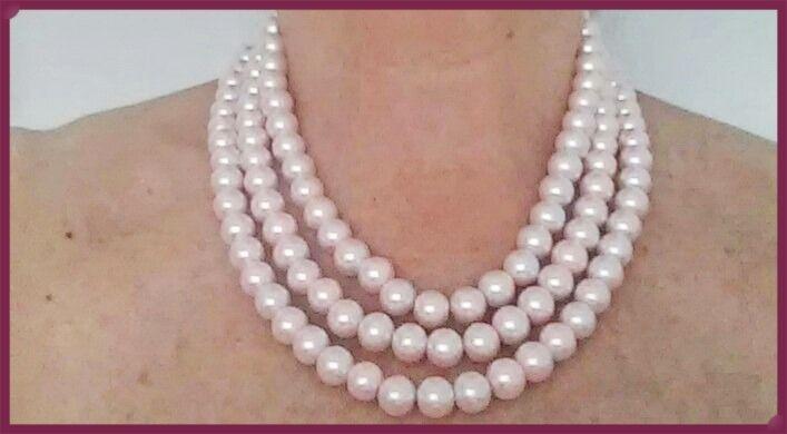 e6f92caae8a3 Collar De Perlas Tres Vueltas Color Rosa -   390