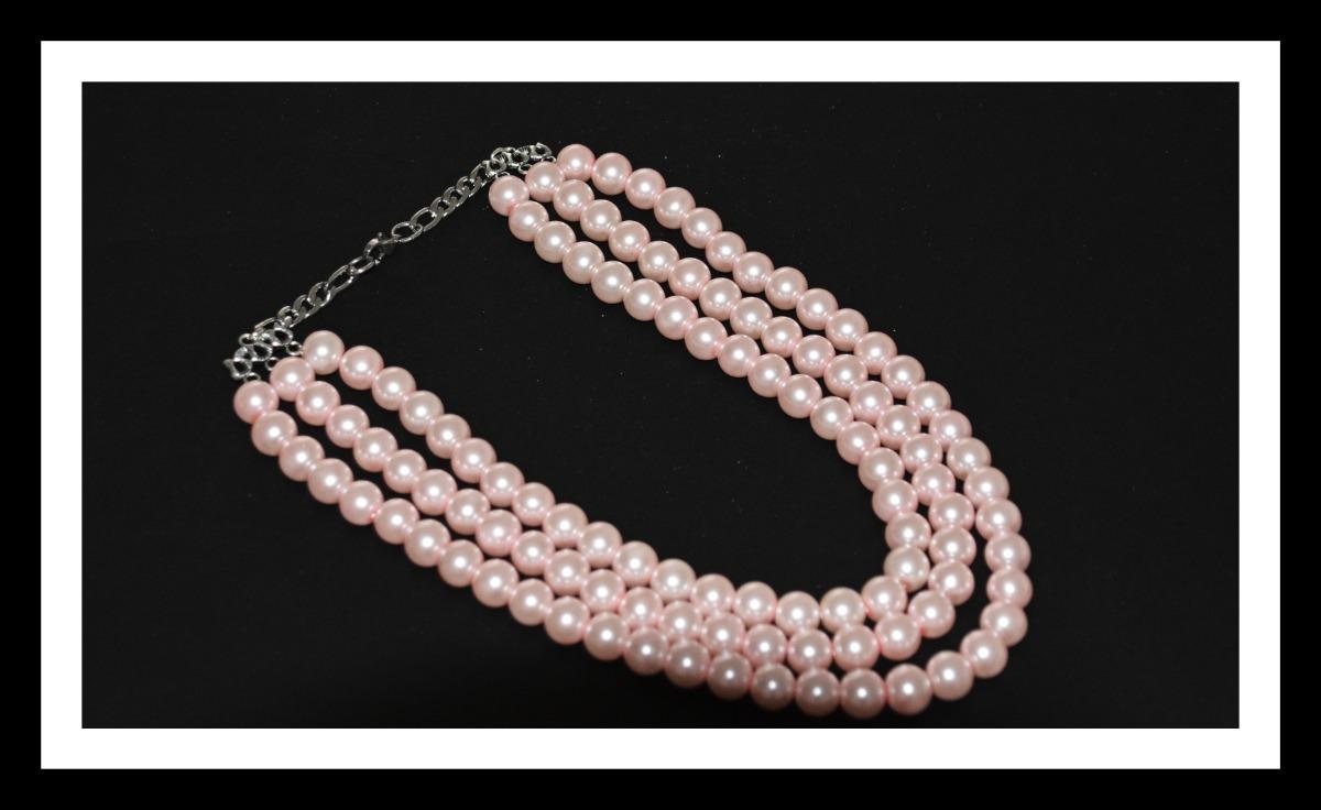 478768bdf52e collar de perlas tres vueltas color rosa. Cargando zoom.