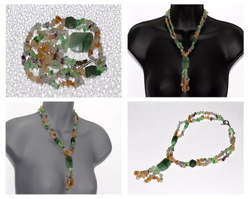 collar de piedra aventurina verde, cuarzo y ágata ccpn590
