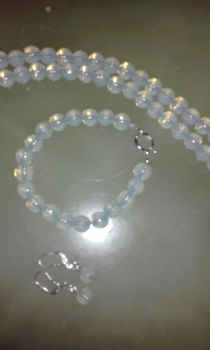 92261fab16fb collar de piedra lunar de 8 mm y plata 925+pulsera+aros. Cargando zoom.