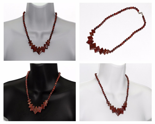 collar de piedra  natural jaspe rojizo ccpn506