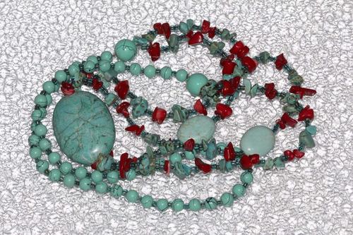 collar de piedra  natural turquesa y coral ccpn575