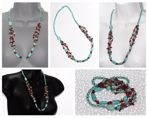 collar de piedra  turquesa y coral ccpn563