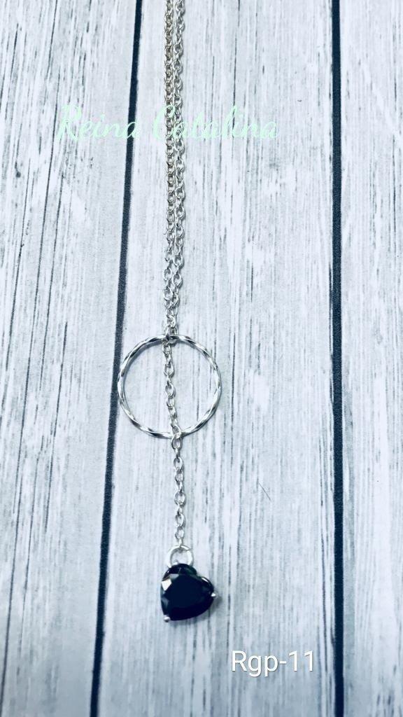 9ac09a6a3197 collar de plata 925 corbatero corazón de cubic negro eslabón. Cargando zoom.