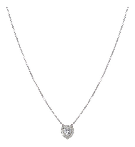 collar de plata 925 rodinada y cúbic con corazón mod. 50026