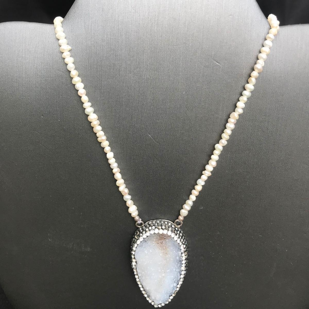 5705b13f1082 collar de plata cuarzo blanco. Cargando zoom.