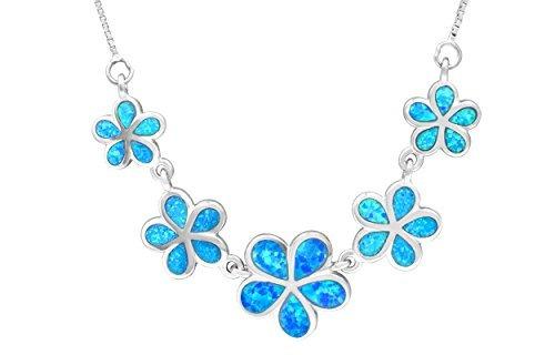collar de plata de cinco colgantes de plumeria con opal azul