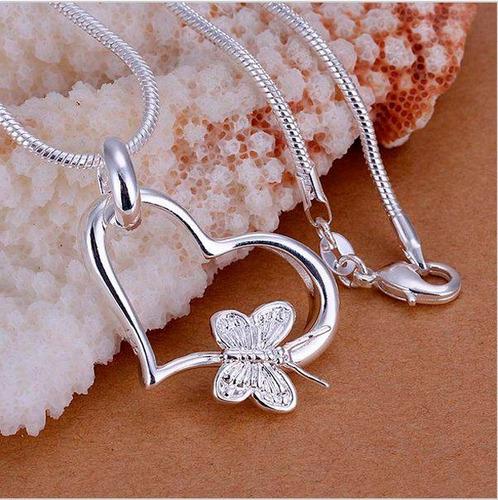 collar de plata + dije de corazón de plata ley 925