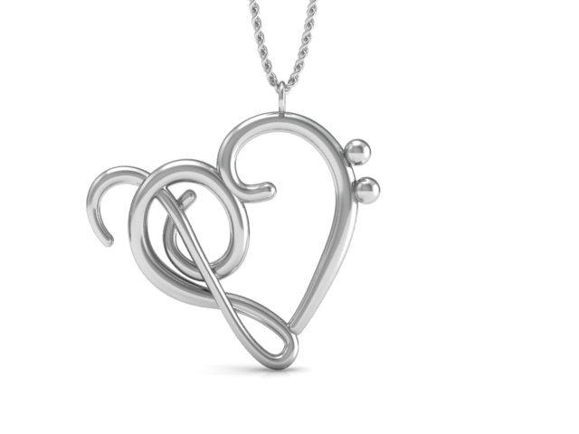 Collar De Plata Ley 925 De Corazón De Clave De Sol Y Fa 55000