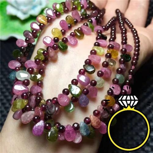 collar de turmalinas colores sandia y granates cuarzo reiki
