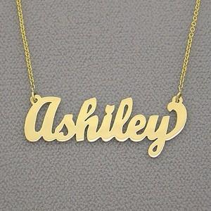 collar dije cadena nombre en plata 950 enchapado en oro