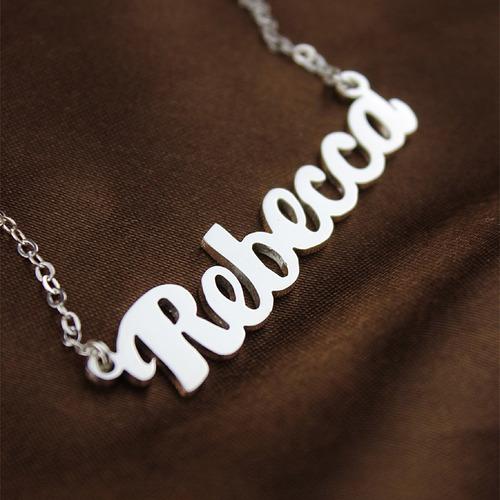 collar dije cadena nombre personalizado en plata 950