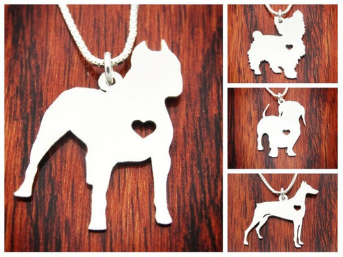 collar dije cadena perro, gato plata 950 joyeria