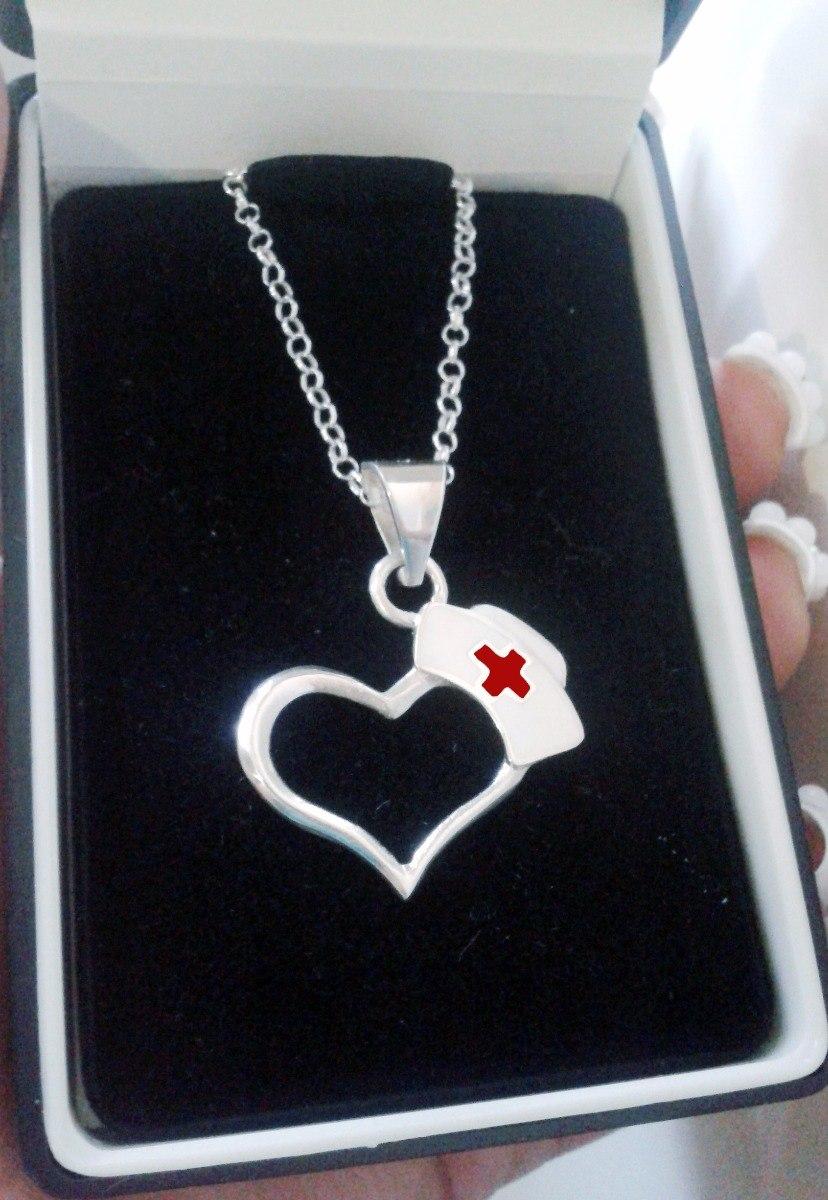 d96f19624683 collar dije corazón con cofia plata .925 enfermera medicina. Cargando zoom.
