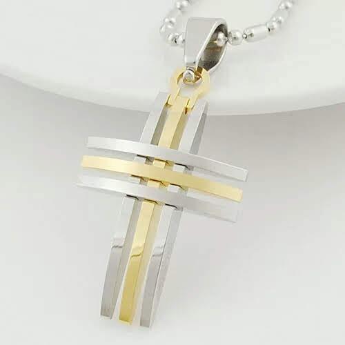 collar dije cruz en acero (tres tonos a elegir)