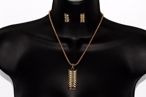 collar dije dorado y aretes cristales elegante ce259