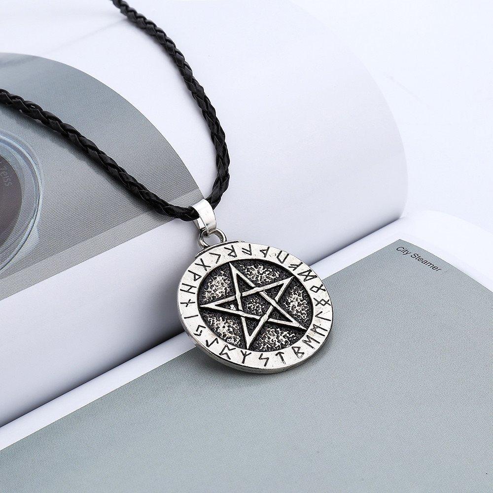 6680354f3e3c collar dije pentagrama runas cadena estrella wicca magia. Cargando zoom.