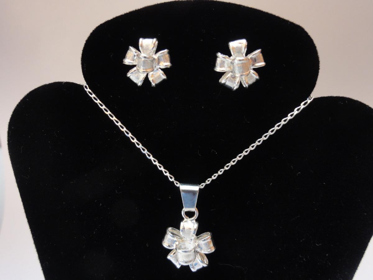 321b8554a0d9 collar dije y aretes de plata 925 juego de moños regalo dama. Cargando zoom.