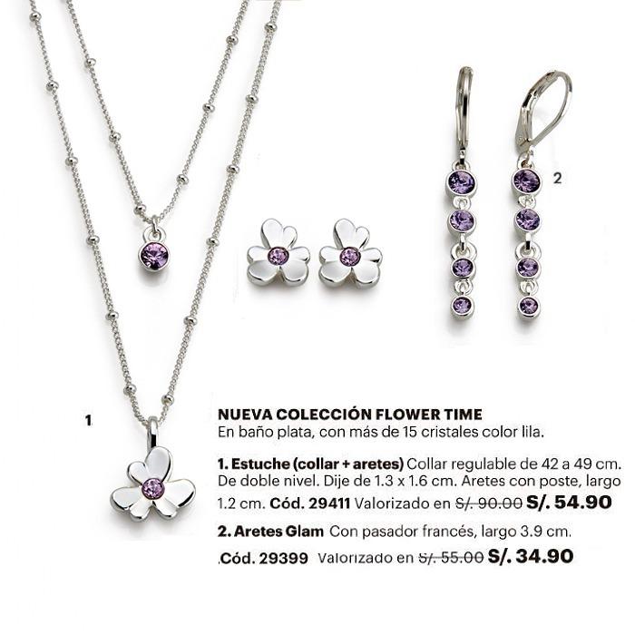 b5e41a48190d Collar Doble Cadena + 2 Pares De Aretes Flower Time Esika - S  89