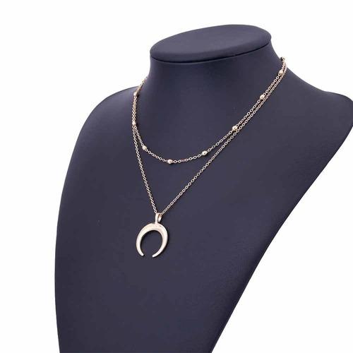 collar doble cadena con dije media luna joyería dama regalo