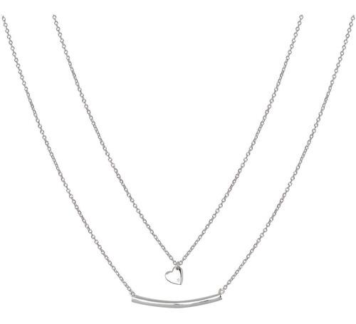 collar doble, con corazón y barrita de plata 925 mod. 50029