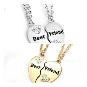 f00eefa1276b Collar Doble Corazón Dorado O Plateado Mejores Amigos Bff