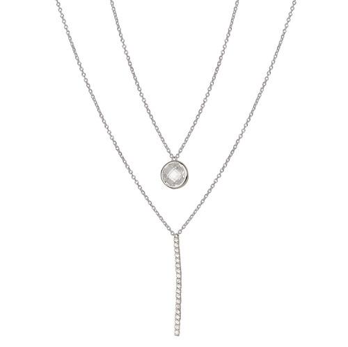 collar doble de plata 925 rodinada y cúbic mod. 50035