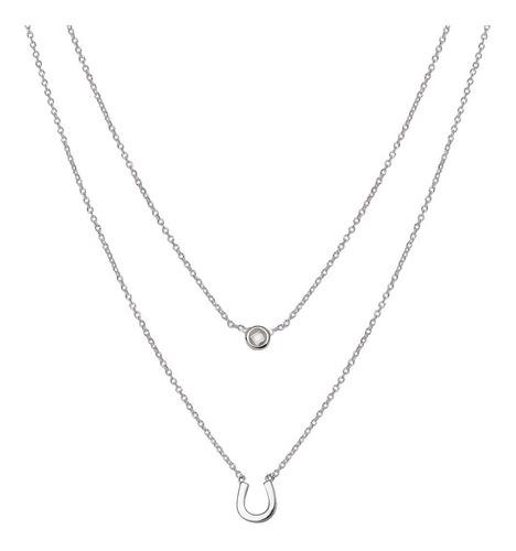 collar doble de plata 925 rodinada y cúbic mod. 50036