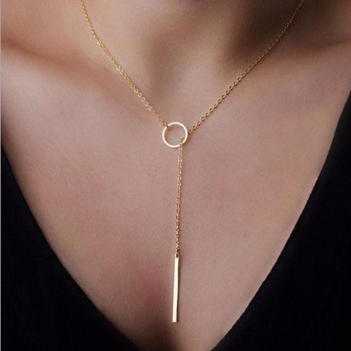 051d13f75e3e Collar Dorado Colgante Elegante Casual Dije Bisuteria Mujer ...