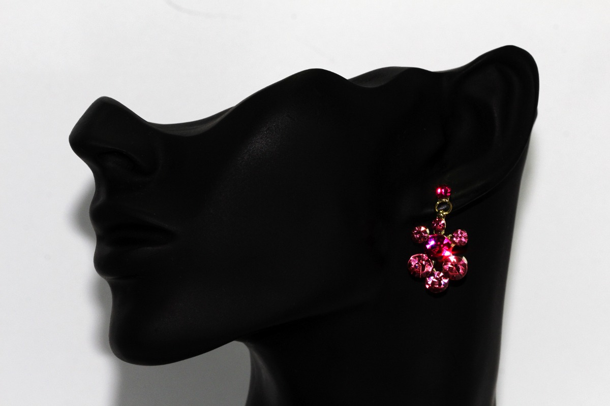 15d37ba990d7 Collar Dorado Finos Cristales Flor Rosa Y Aretes Ce218 -   359.00 en ...