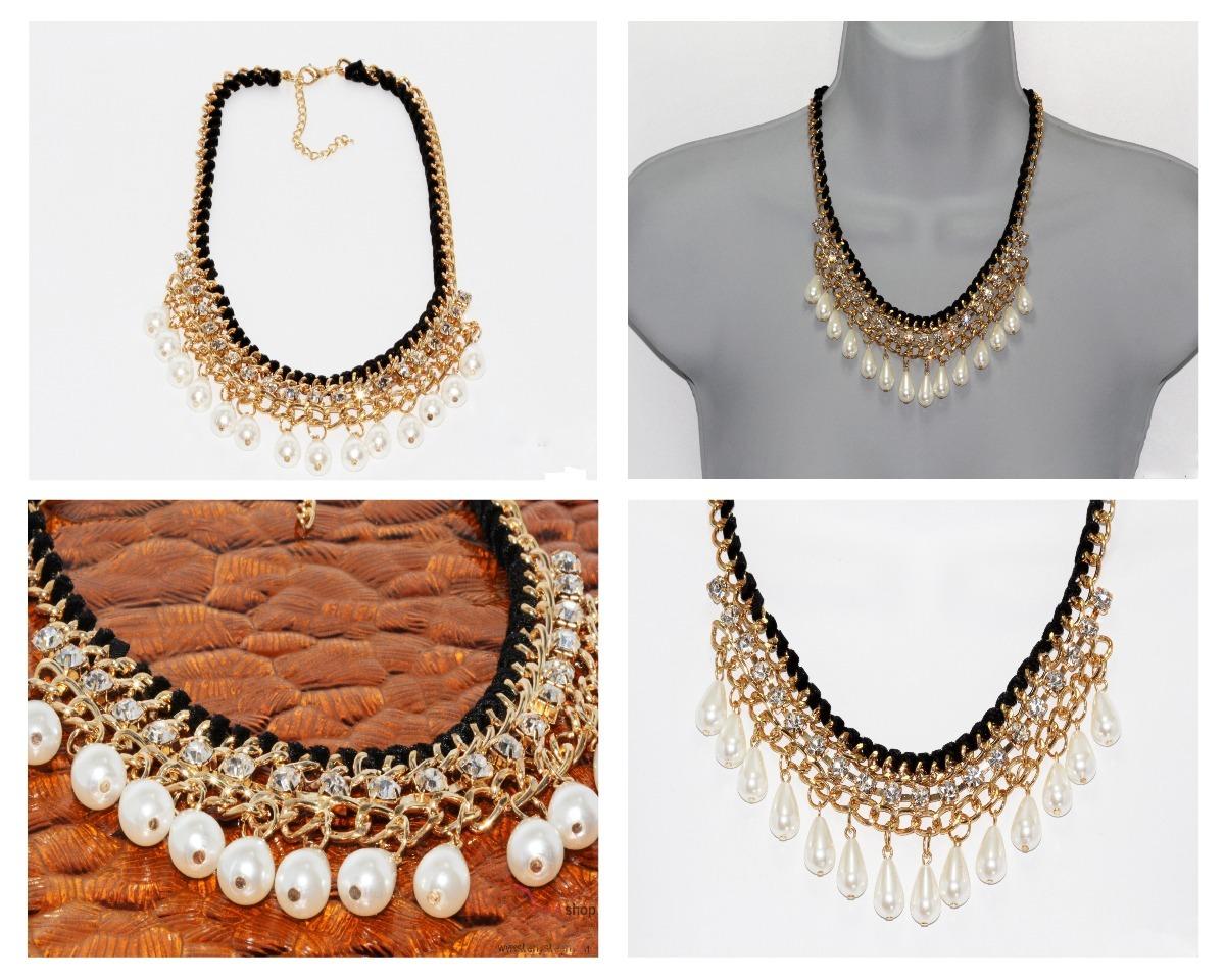 29654e7438dd collar dorado perlas cristales joyeria mujer elegante cc37. Cargando zoom.