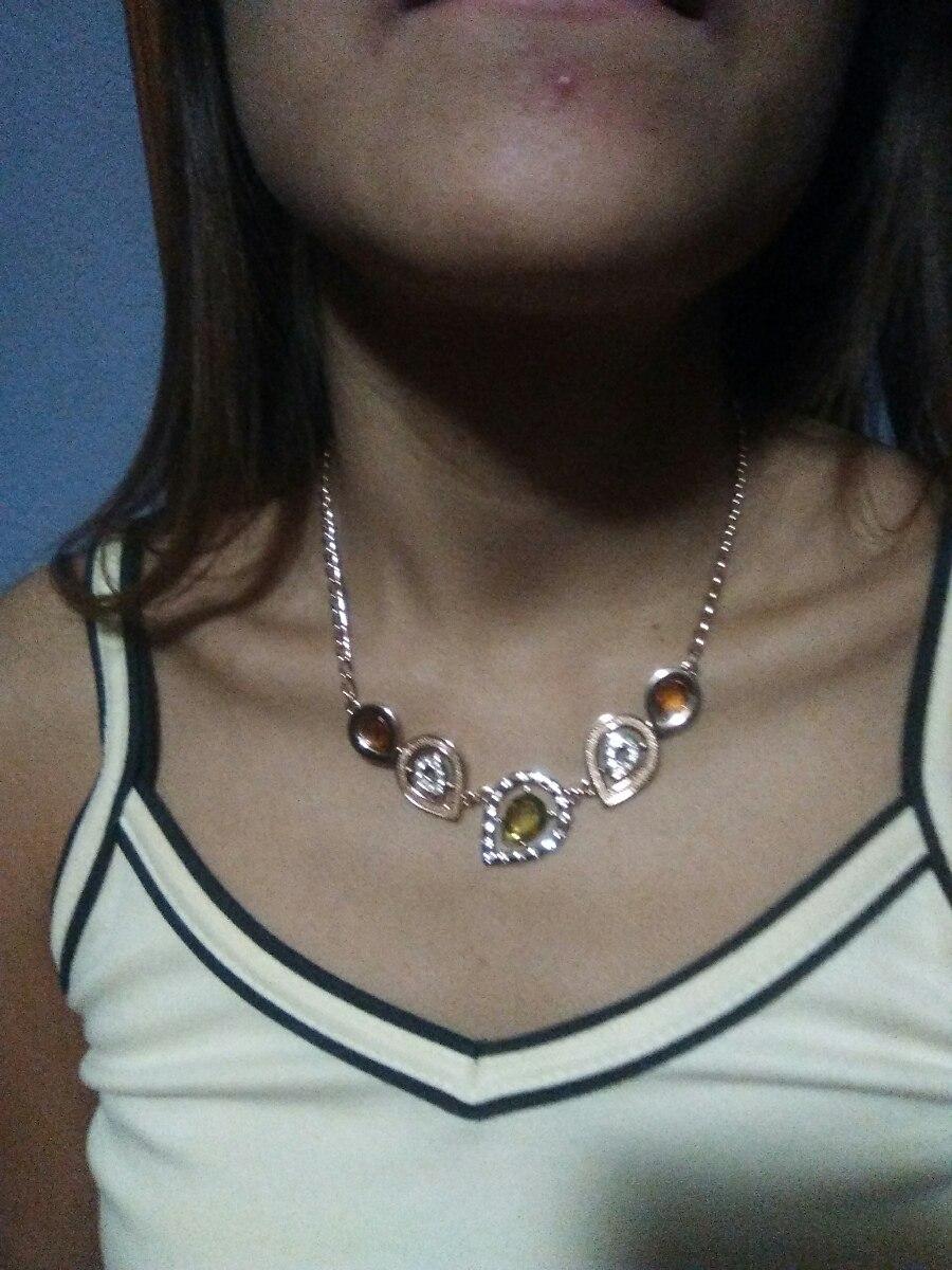 9daddaec8e1c Collar En Baño De Oro Rosado Con Finas Piedras -   575.00 en Mercado ...