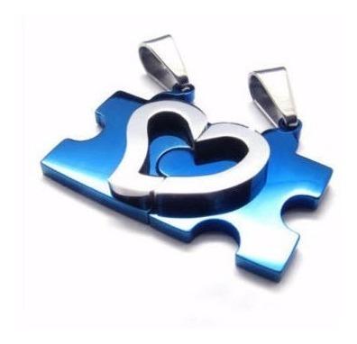 collar enamorados pareja separable corazon azul acero inox.
