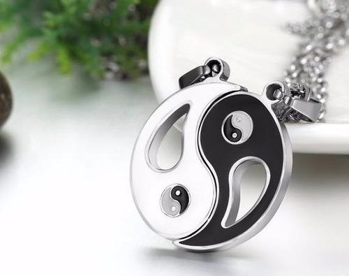 collar enamorados pareja separable ying yang acero inox. set