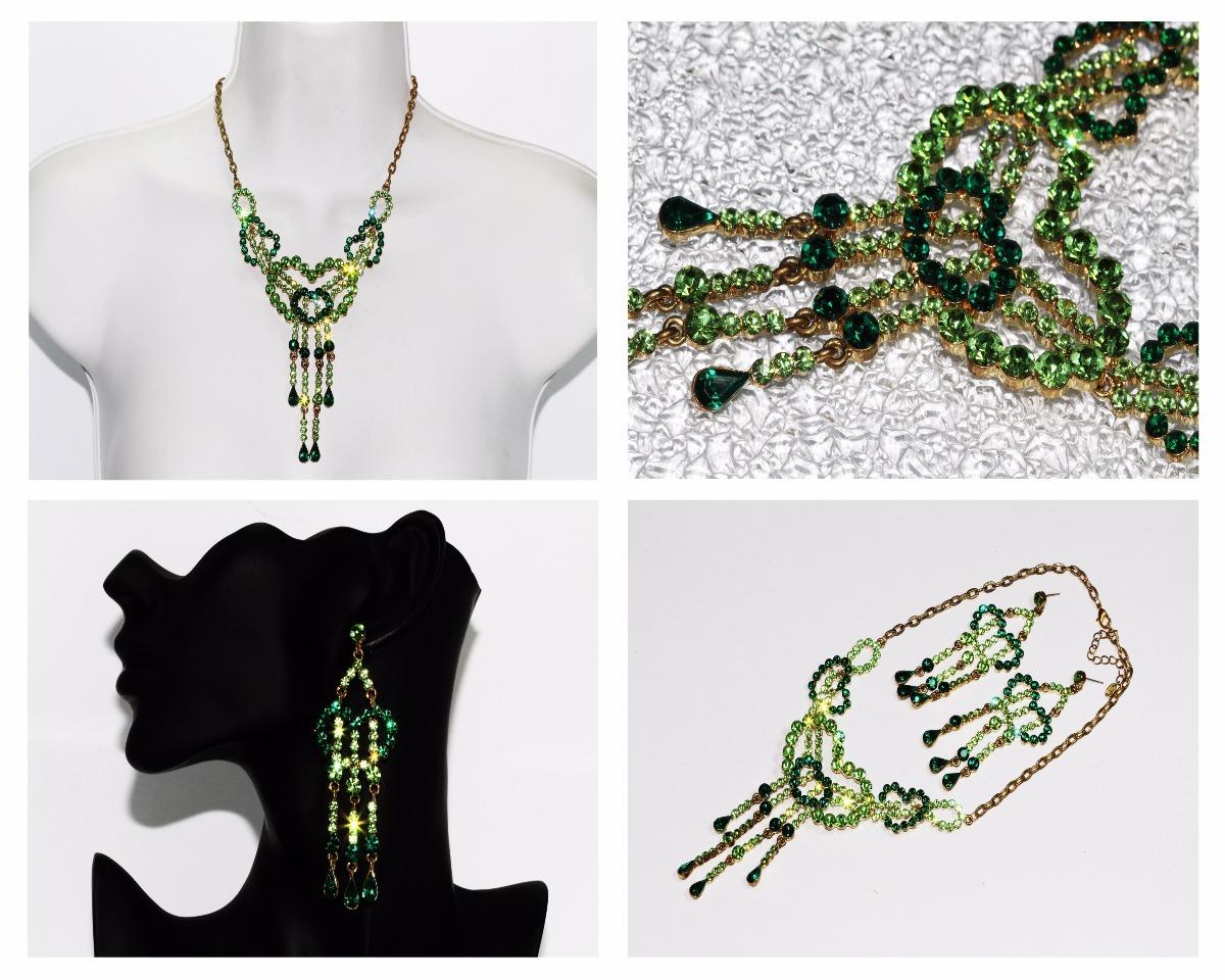 9134d02cf70c collar fiesta dorado verde cristales elegante aretes ce238. Cargando zoom.