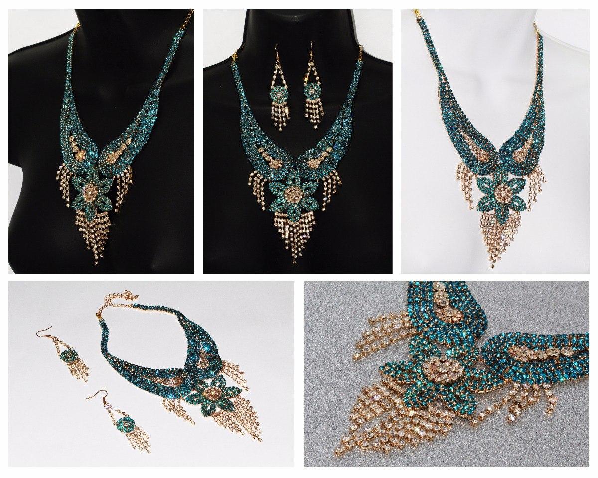 f6debb18bb14 collar fiesta elegante dorado verde cristales y aretes ce145. Cargando zoom.