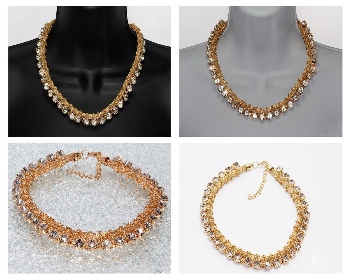 83a989037958 collar fiesta gargantilla dorada cristales joyeria cc12. Cargando zoom.