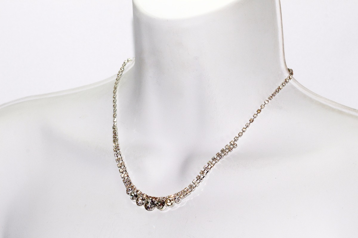 d1f51d76e982 collar fiesta plateado aretes finos cristales vintage ce242. Cargando zoom.