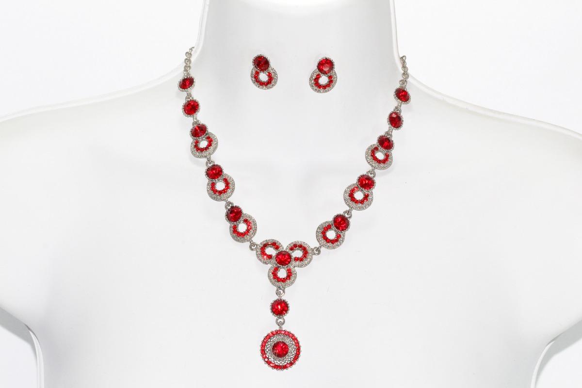 6e8b139b4dd3 collar fiesta plateado cristales rojos aretes elegante ce225. Cargando zoom.