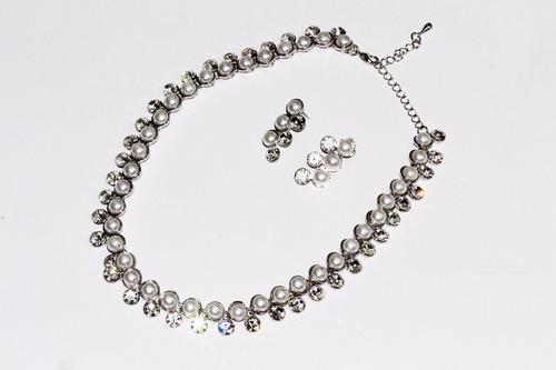 collar fiesta plateado perlas cristal aretes elegante ce246