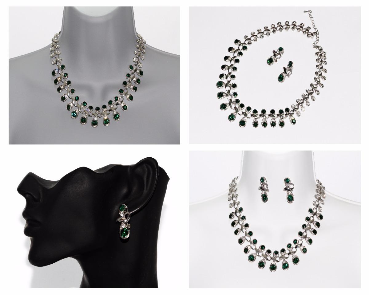d5d88ddbd184 collar fiesta plateado y verde aretes elegante vintage ce263. Cargando zoom.