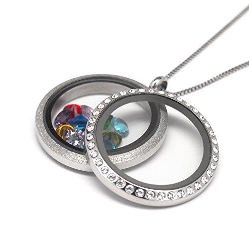 27c8711a5f85 Collar Flotante Del Encanto De Las Mujeres (locket De Doble ...