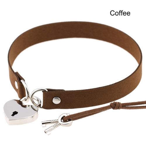 collar gargantilla candado + llave café g-014