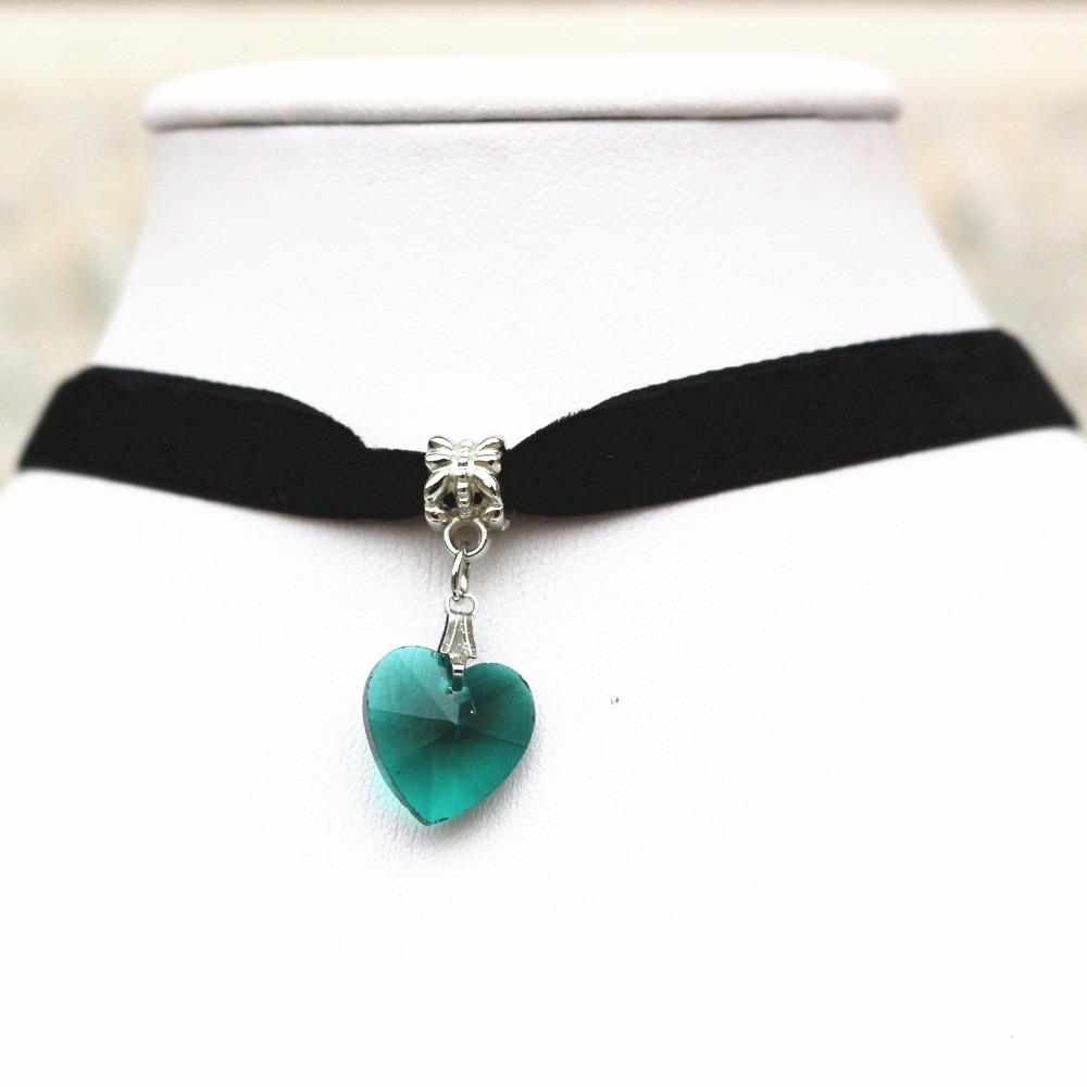 89cd253237f9 collar gargantilla choker corazón verde oscuro regalo g-029. Cargando zoom.