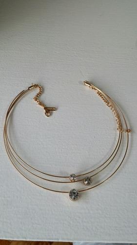 collar gargantilla dorado metal alambre brillante top shop
