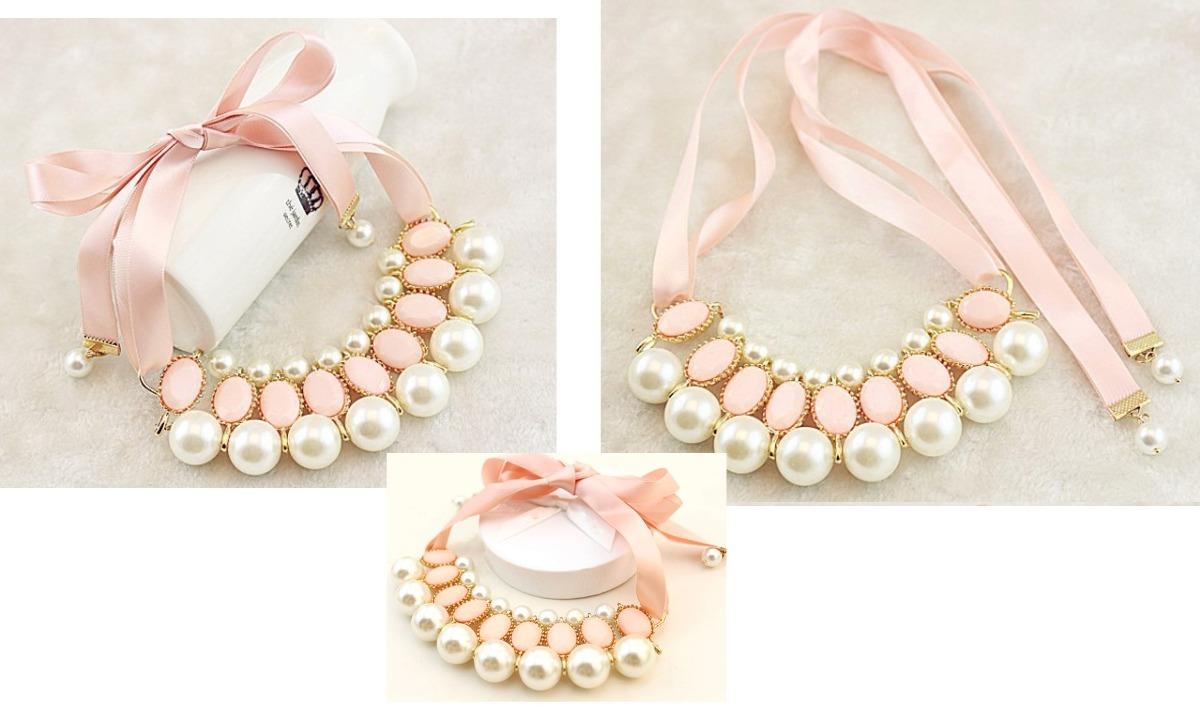 18ea92336b1b collar gargantilla perlas listón elegante casual vintage. Cargando zoom.