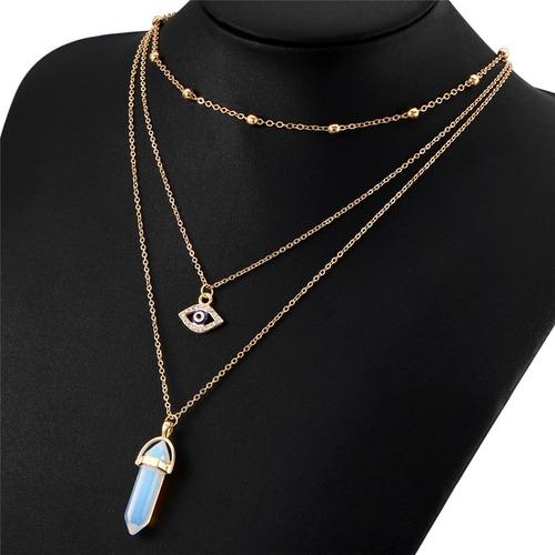 collar gargantilla piedra opal blanco traslucido en dorado