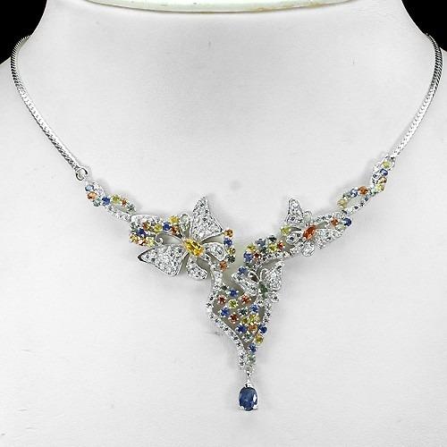 collar gargantilla plata, anillo incluido zafiros naturales