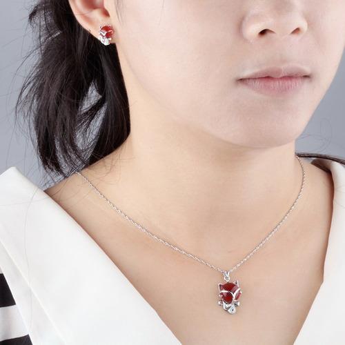 collar gatito de plata 0.925 con zirconia - 1170